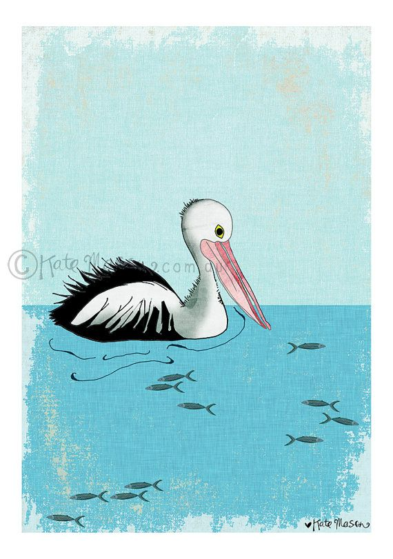 This is a print of the lovely Australian Pelican, artwork by me, Kate Mason. This artwork was hand sketched & has a mix of hand painted elements &