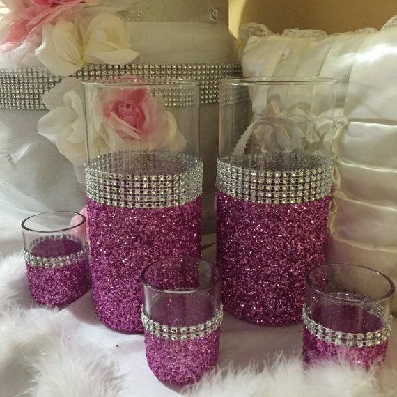 Wedding centerpiece, pink glitter vase, (1) vase, bridal bouquet holder, black glitter, bling wedding, candle holder
