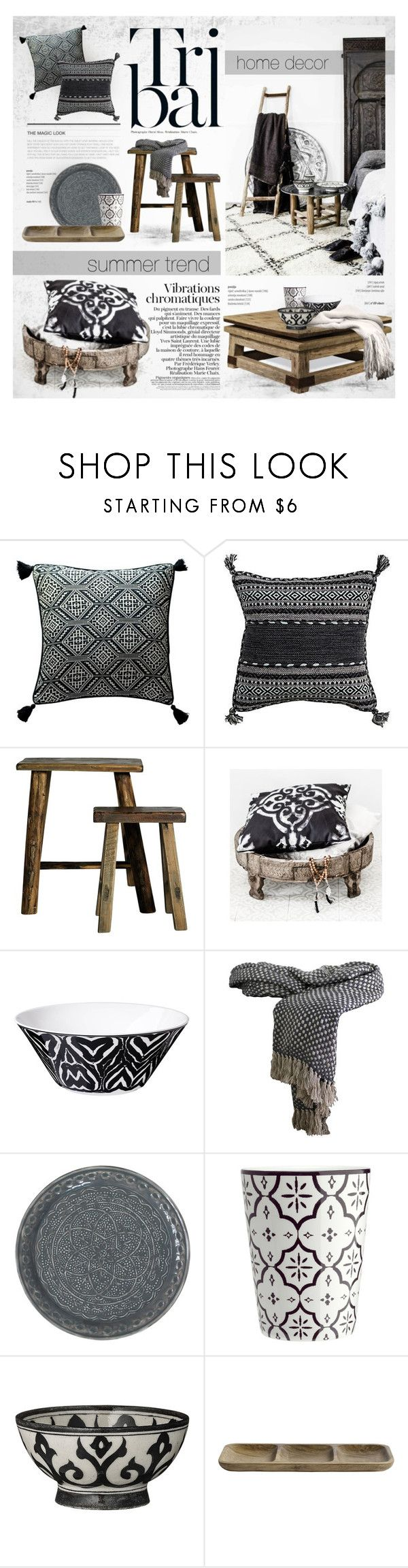 Tribal: Black & White by nyrvelli on Polyvore featuring interior, interiors, interior design, hogar, home decor, interior decorating, Rizzy Home, GreenGate, Nordal and DAY Birger et Mikkelsen