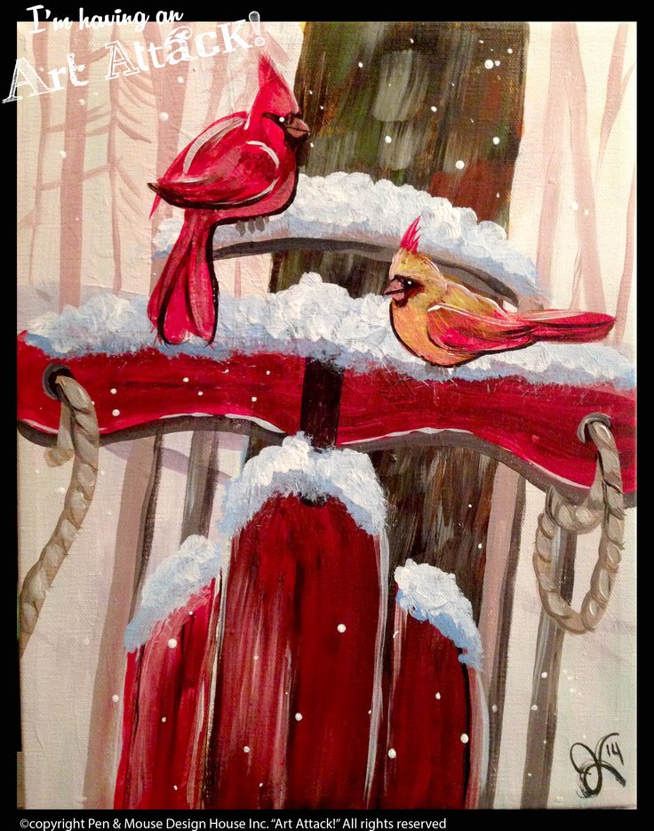 """Cardinals and Sled"" canvas ""I'm Having an Art Attack!"" social painting parties. Original artwork by Julie Kukreja. www.artattackpaintparty.com"
