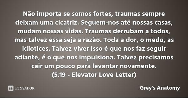 Não importa se somos fortes, traumas sempre deixam uma cicatriz. Seguem-nos até nossas casas, mudam nossas vidas. Traumas derrubam a todos, mas talvez essa seja a razão. Toda a dor, o medo, as... — Greys Anatomy