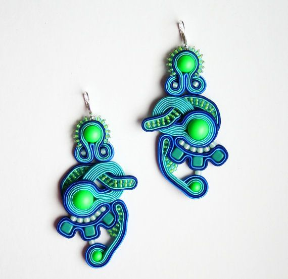 neon blue and green unique soutache earrings / little aliens with swarovski pearls