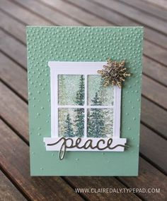 Peeking through the window at Christmas using Stampin' Up! Hearth and Home Thinlits