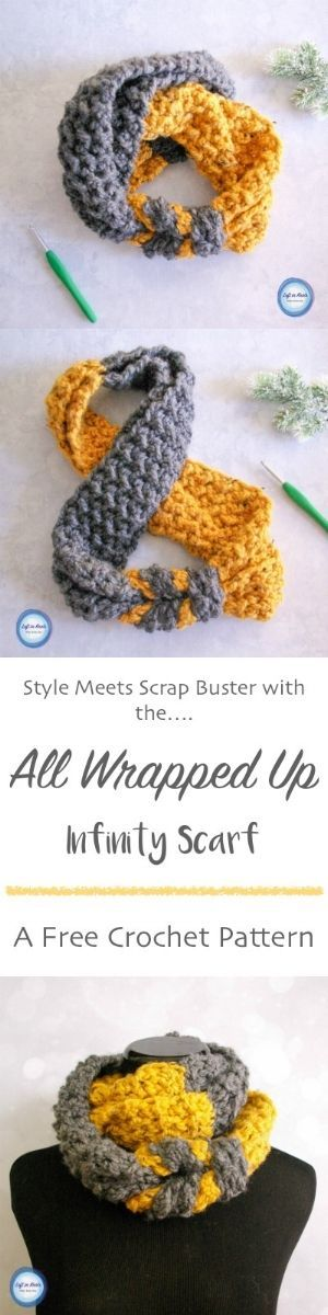 """All Wrapped Up Infinity Scarf"" - this crochet pattern features a color blocking style to be endlessly stylish"