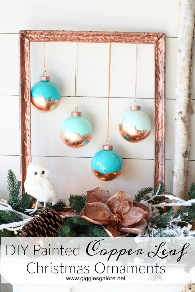 Make DIY Painted Copper Leaf Christmas Ornaments for glam farmhouse holiday decor