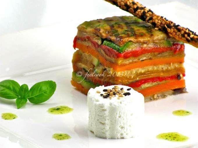 Vegetariana... - Ricetta Antipasto : Millefoglie di verdure grigliate, caprino e grissino al sesamo da Feelcook