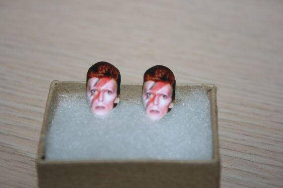 Ziggy Stardust David Bowie Post Stud Earrings by charm456 on Etsy
