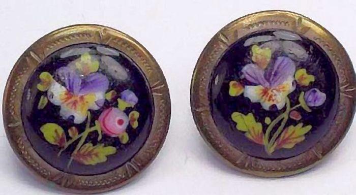 Antique Floral Enamel Buttons