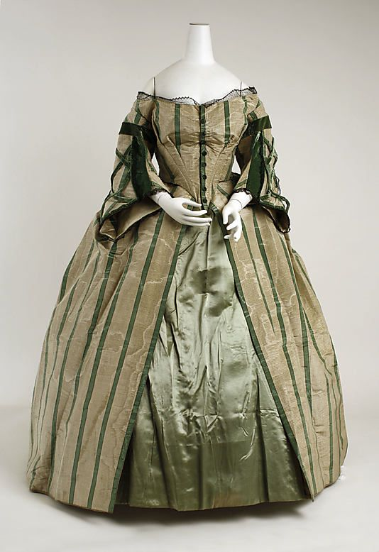 1858-63 Convertible Dress. This view is without the berthe. Once the berthe is removed it becomes a dinner, or evening dress with a frill of pinked, embroidered net at the neckline.: Afternoon Dresses 1858 1863, Evening Dresses, Silk Dresses, Swan Shadows, Dresses Sleeve, Silk Gowns,  Crinolin, Convertible Dresses, Metropolitan Museums