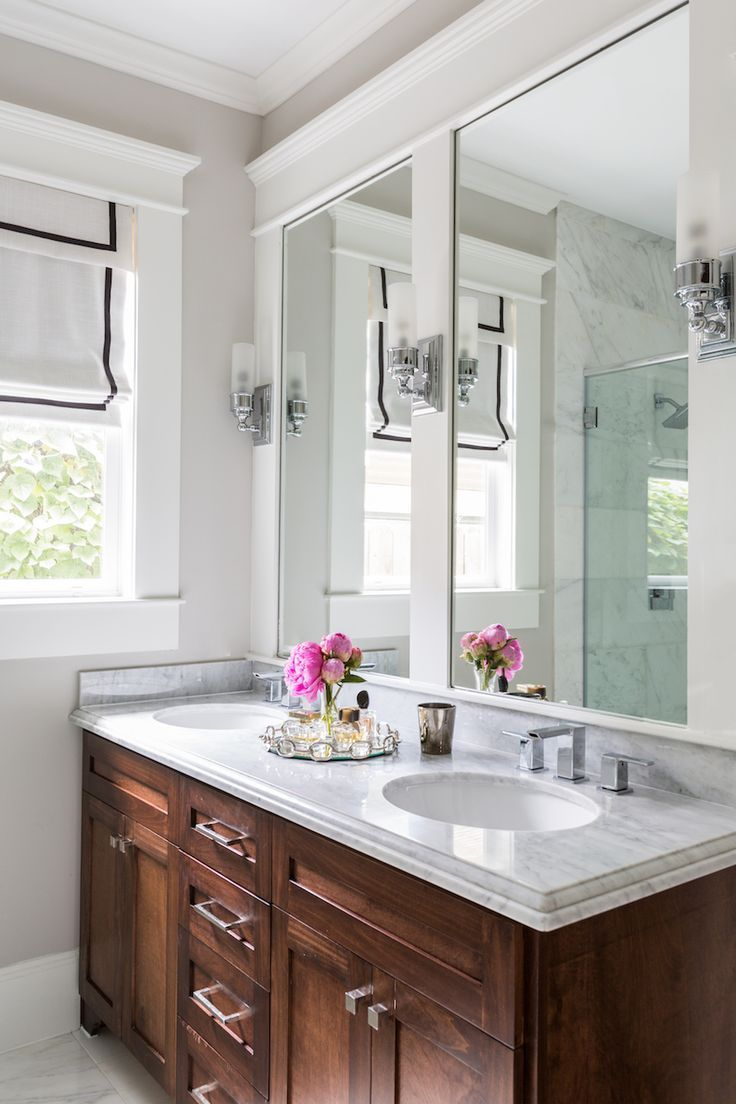 Camille Styles Home Tours - Marie's Timeless Craftsman Home - Marie Flanigan Interiors - Marble and oak bathroom
