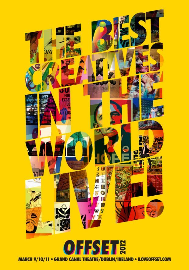 The use of creating a collage within the type works well. Placing this on a yellow background makes everything stand out. Simple layout for the type at the bottom.