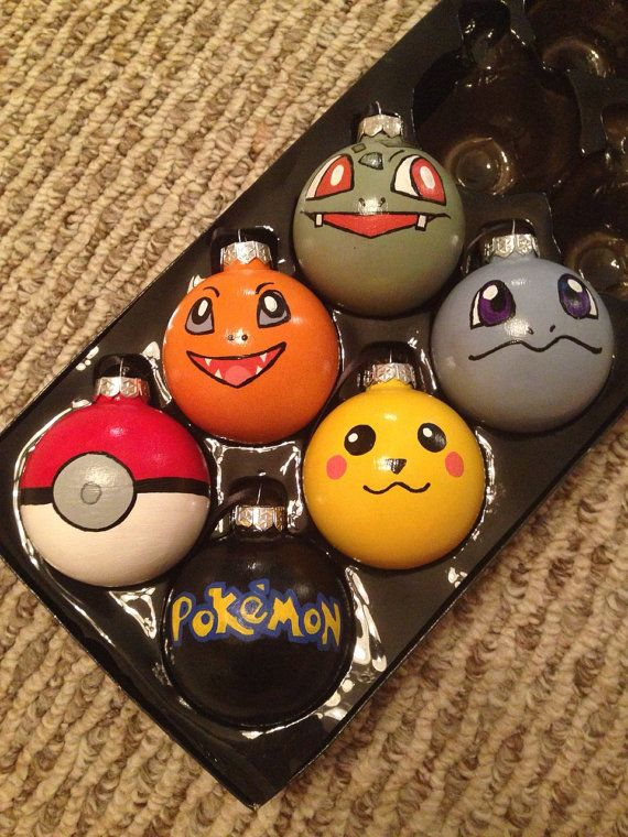 These glass ornaments are 3 inches by 3 inches.  This set includes Bulbasaur, Squirtle, Charmander, Pikachu, a Pokeball, and the Pokemon logo.  They
