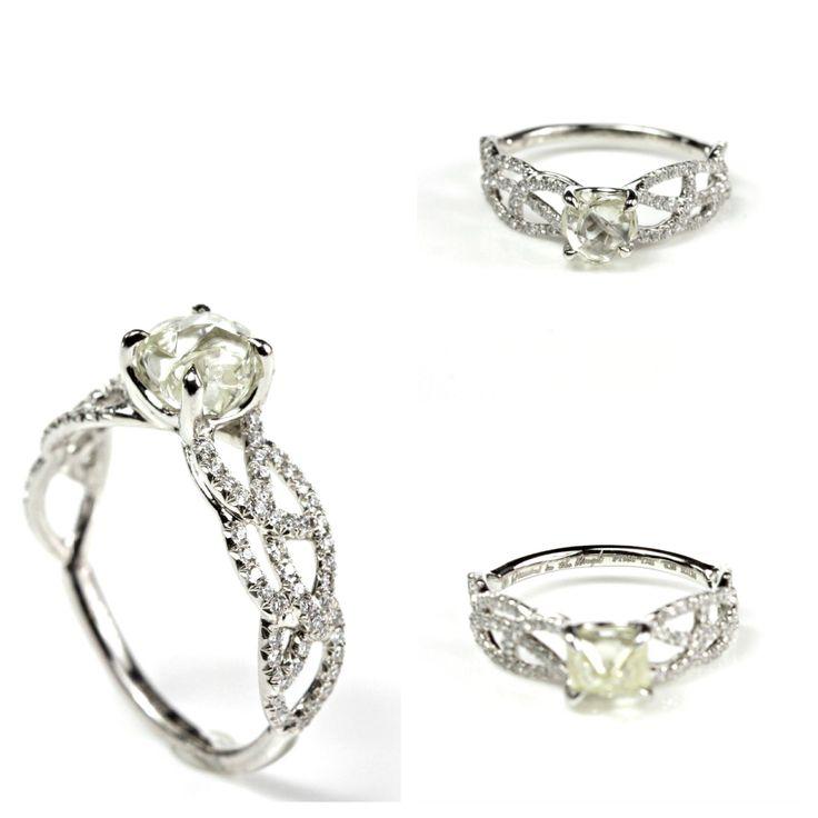 Vine rough diamond ring-unique wedding ring!    #art #jewelry #weddingrings #engaving #vintage