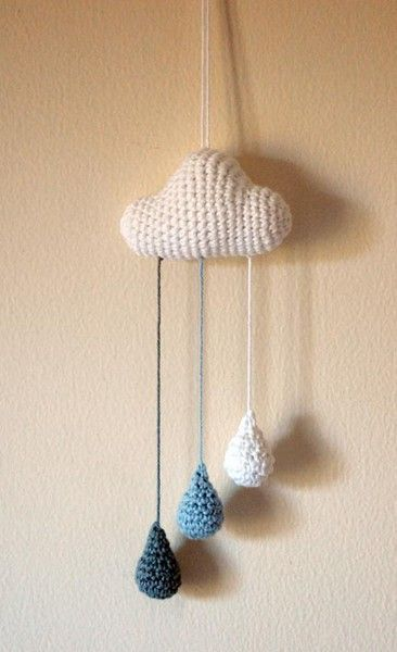 I made this cloud with raindrops. I wrote the pattern for I did not to forget how I did it..
