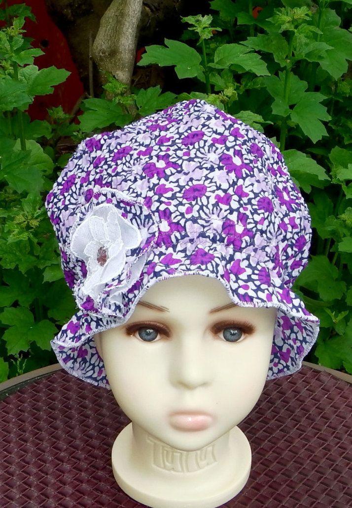 Chapeau plage soleil filles, chapeau d'été petit enfant/ bébé, bonnet chimio, cancer filles, perte de cheveux, couvre-tête,  fait à la main by BleukaktusHats on Etsy