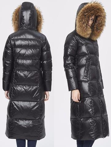 Black Glossy Fur Hooded Long Puffy Down Coat