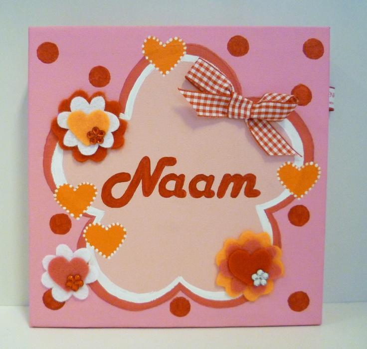 Schilderij met naam voor meisjes. http://binnen-pret.nl/