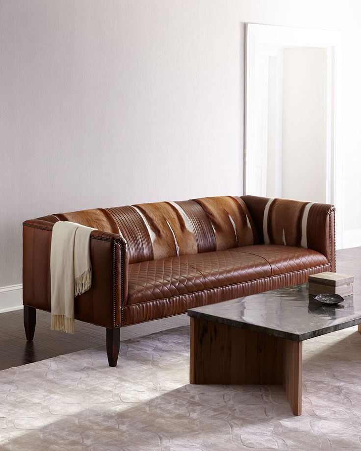 Pierce Hairhide Leather Sofa Brown Hairhide Old Hickory