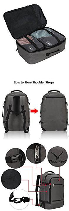 Travel Carry On Backpack. Hynes Eagle Travel Backpack 40L Flight Approved Carry on Backpack, Grey with 3PCS Packing Cubes.  #travel #carry #on #backpack #travelcarry #carryon #onbackpack
