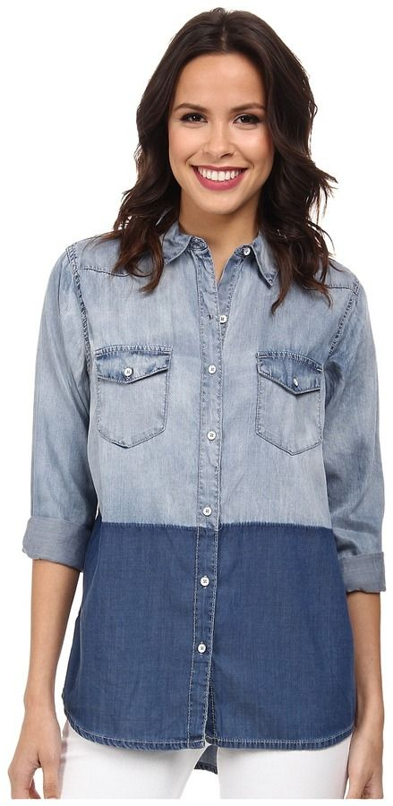 $89, Blue Denim Shirt: Jeans Oversize Denim Shirt by DKNY. Sold by Zappos. Click for more info: http://lookastic.com/women/shop_items/195963/redirect