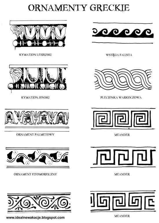 ornamenty greckie kymation; ornament palmetowy, ornament fitomorficzny; wstęga falista; plecionka warkoczowa; meander