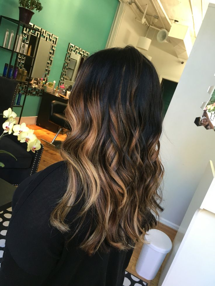 Brunette hair painting/bayalage.  Instagram: @hairbyellierose  #denverhair #denverhairstylist #bayalage #hairpainting #brunettebayalage #brunette #brownhair #caramelhair #highlights #denversalon #trendinghair #denverbayalage #coloradosalon