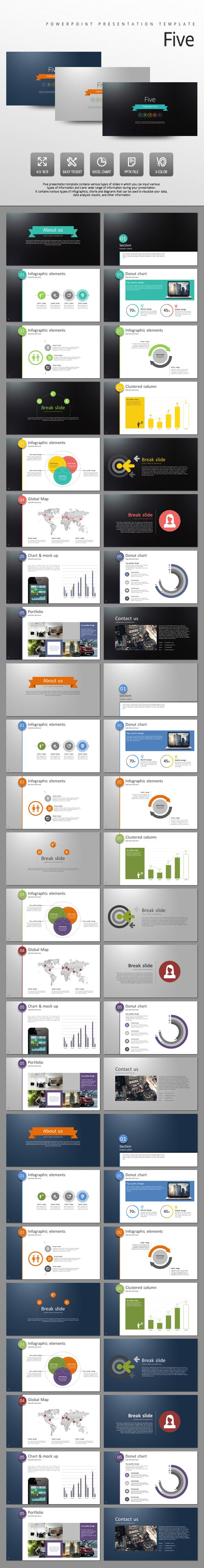 Five PowerPoint Template #design #slides Download: http://graphicriver.net/item/five/13105400?ref=ksioks
