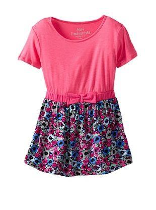 66% OFF Mini Fashionista Girl's Empire Waist Dress (Sky Blue/Pink)