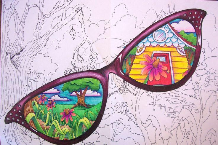 Tällä tavalla voisi tehdä työn kesähaaveista. Näkymä aurinkolasien läpi...kehykset voisi leikata myös pahvista ja liimata lopuksi paikalleen.