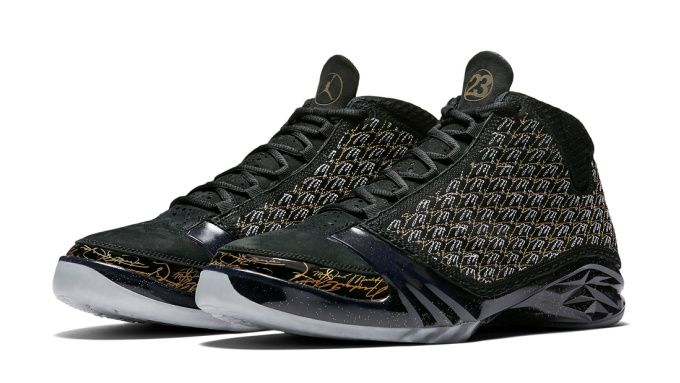 "Jordan Brand and Marcus Jordan's Trophy Room link together once again to create the Air Jordan XX3 x Trophy Room ""Black."" The sneaker features a mix of black, metallic gold and dark grey on the upper which is done in nubuck and a repeating ""MJ"" embroidered print. The sneaker also features a speckled midsole, an icy outsole and several nods back to Marcus Jordan and Trophy Room. Release date is May 28, 2016 at a retail price of $275 in an amount of 5,000 pairs worldwide."
