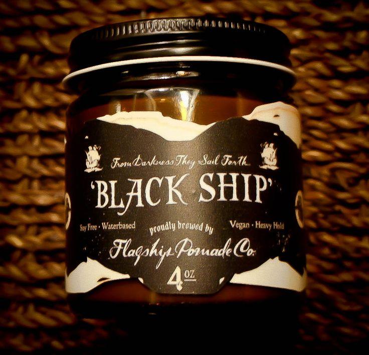 Black Ship Water-based Pomade - Sandalwood Scent - Matte Finish - Flagship Pomade Co.