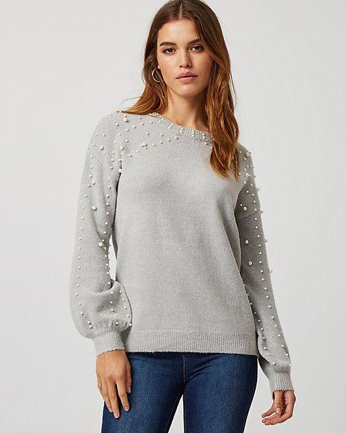 12184780fb6 Pearl Embellished Bishop Sleeve Sweater