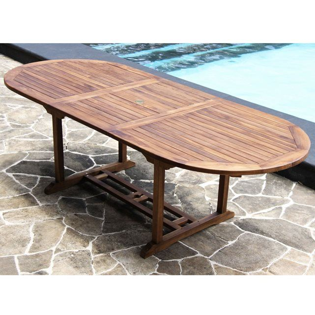 359€ Table de jardin teck huilé 8/10 pers largeur 100cm