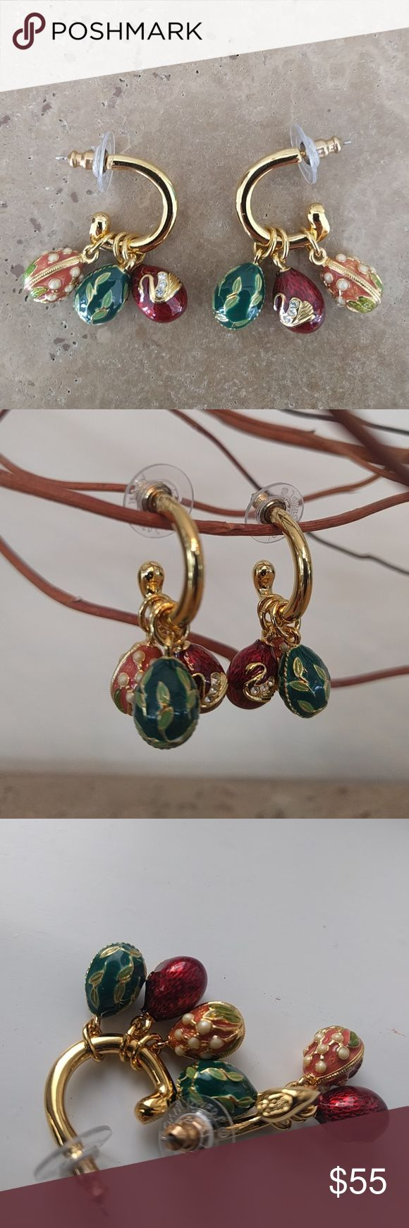 VTG Joan Rivers earrings Pair Vintage signature Joan Rivers Faberge styled egg hoop earrings, each with 3 Enamel eggs decorated in the Russian style partial with Swarovski crystals, gold dipped, new condition, no tags, great collector's item, or beautiful Easter gift Joan Rivers Jewelry Earrings
