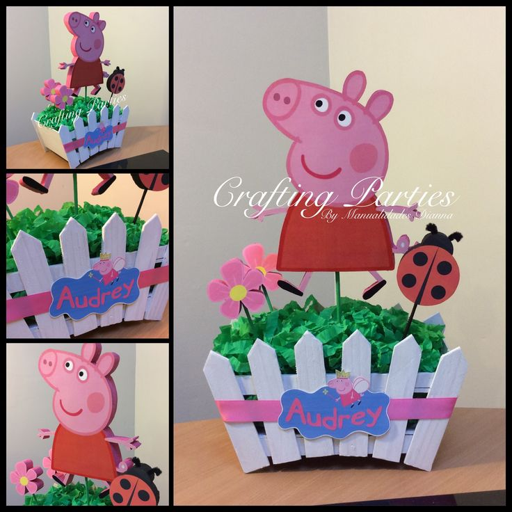 Peppa Pig centerpiece.  The base is made out of wood, handpainted with white acrylic paint. The flower, lady bug & character are all digital images with styrofoam backing. The images are one sided and have the back and edges painted. Contact me 619-273-2845 diannacraftingparties(at)yahoo.com Remember to place your order at least 1 month in advance. #peppapig