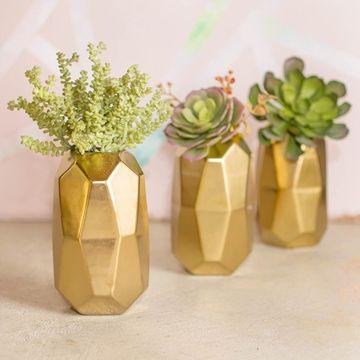Faceted Ceramic Vase, Geometric Floral Holder, 6.25 in, Gold, 4 Pack