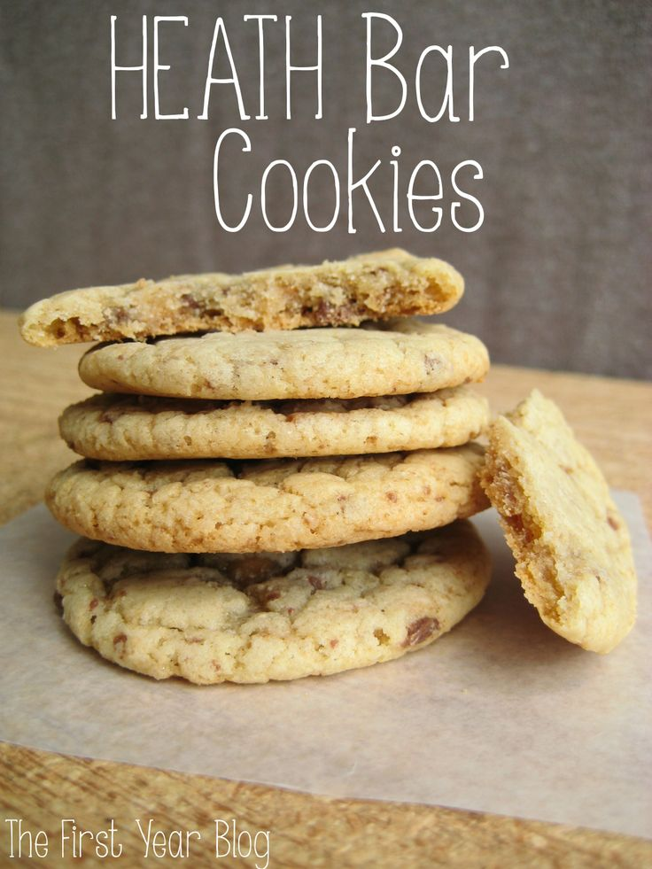 Heath Bar Cookies - these were delicious!  only, cook at 375° for 8 minutes.