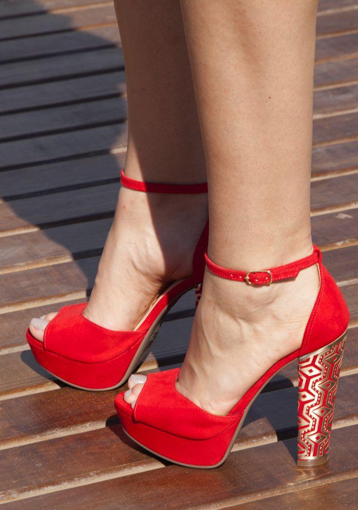 sandálias salto alto - salto grosso - red - high heels - winter shoes - Inverno 2015 - Ref. 15-3956