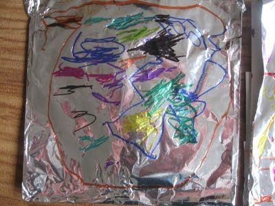 Sharpies on foil and other fun pre-school ideas. We could do with something more permanent for outdoor mark-making.