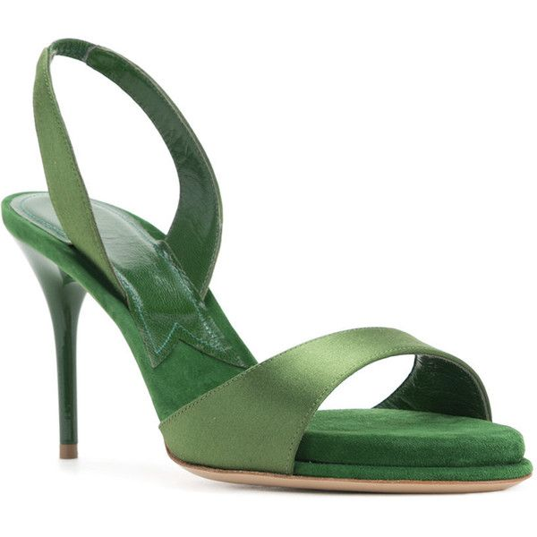 Paul Andrew Liva sandals ($745) ❤ liked on Polyvore featuring shoes, sandals, paul andrew, green sandals, green shoes and paul andrew shoes