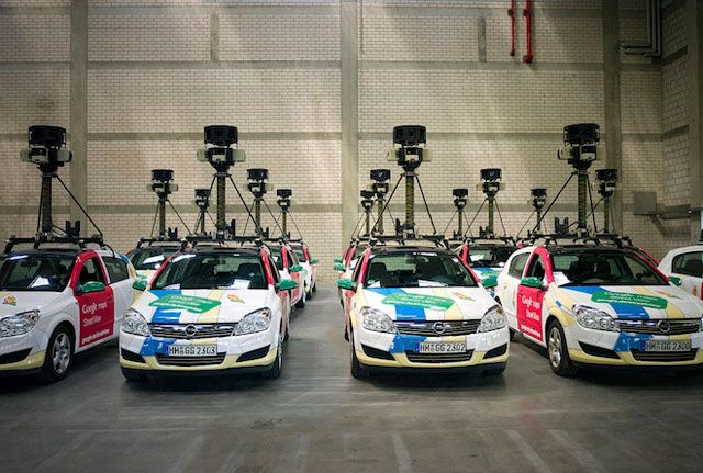 Richard Hay from Google posted a nice picture of a garage full of Google Street View cars, a fleet of them.  I guess this is where they sleep?