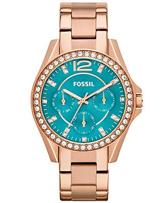 Fossil Watch, Women's Riley Rose Gold-Tone Stainless Steel Bracelet 38mm ES3385 - For Her - Jewelry & Watches - Macy's