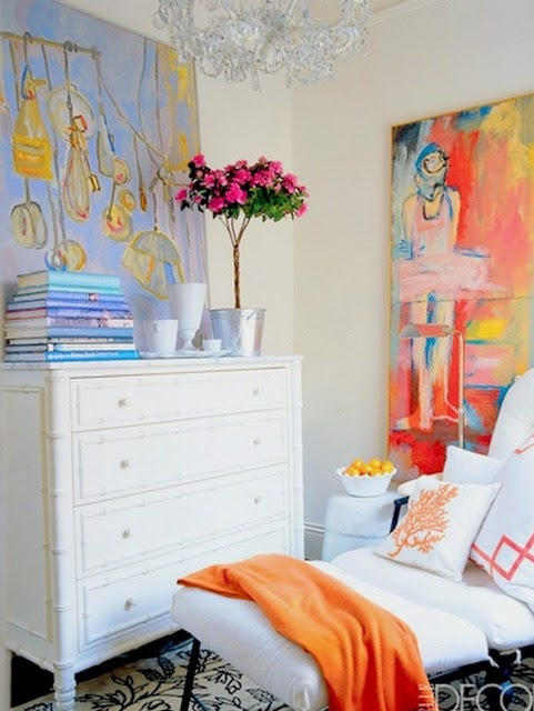 artElle Decor, Colors Art, Home Decor, Elledecor, Art Room, Bedrooms, Bright Colors, White Wall, White Room