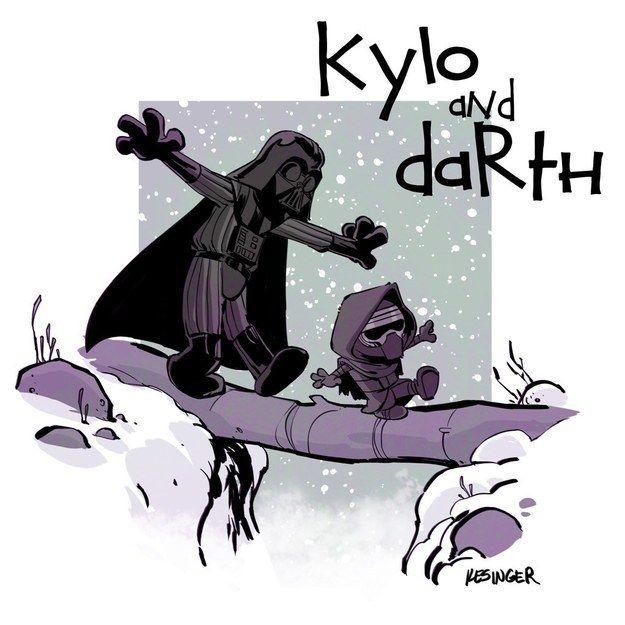 Duas coisa que gosto utilizadas de modo tão legal. Star Wars, Darth Vader e seu neto Kylo Ren imitando Calvin e Haroldo.