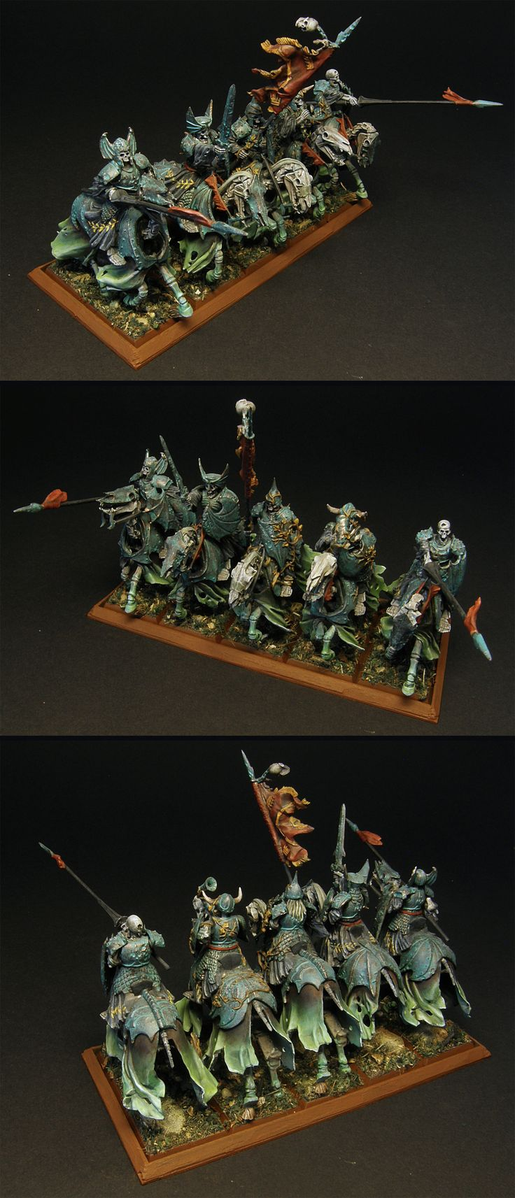 Black Knights unit - painted for Vampire Counts, Warhammer Fantasy Battle - but can work for Age of Sigmar if need be. Right now they belong to the Deathrattle faction in Death Grand Alliance.