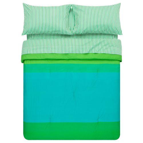 Marimekko Ajo Green Stripe Sheet Set & Marimekko Hennika Green Percale Duvet