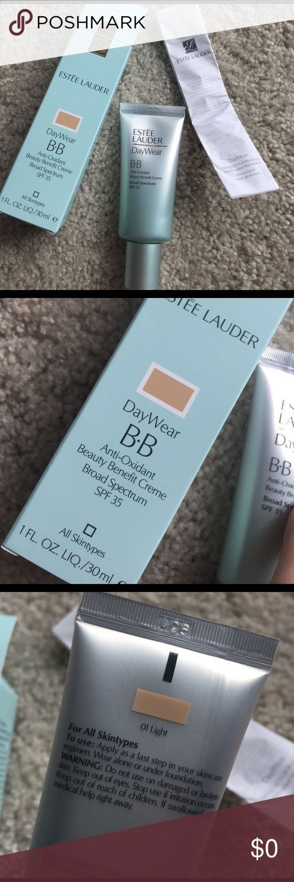 Estée Lauder DayWear BB creme. Spf 35 Full size new in box. Never opened new. Purchased at Macy's in March 2017. 1oz. Spf 35. Color 01 light. Moisturize, illuminates, protects skin. For all skin types. Oil free. No trades. Estee Lauder Makeup Foundation