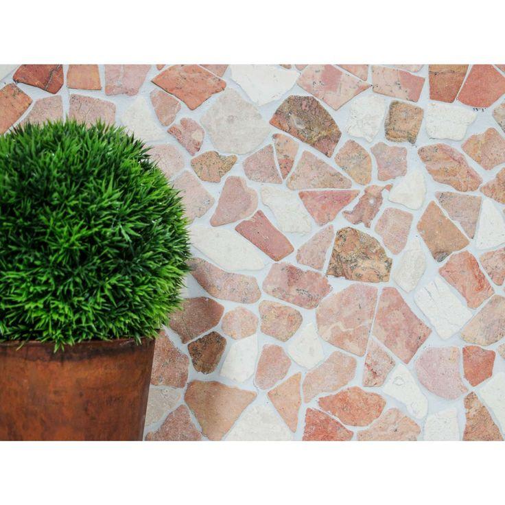 Bruchmosaik Mosaik Bruch Rustic Marble Cotto Weiß 30x30cm