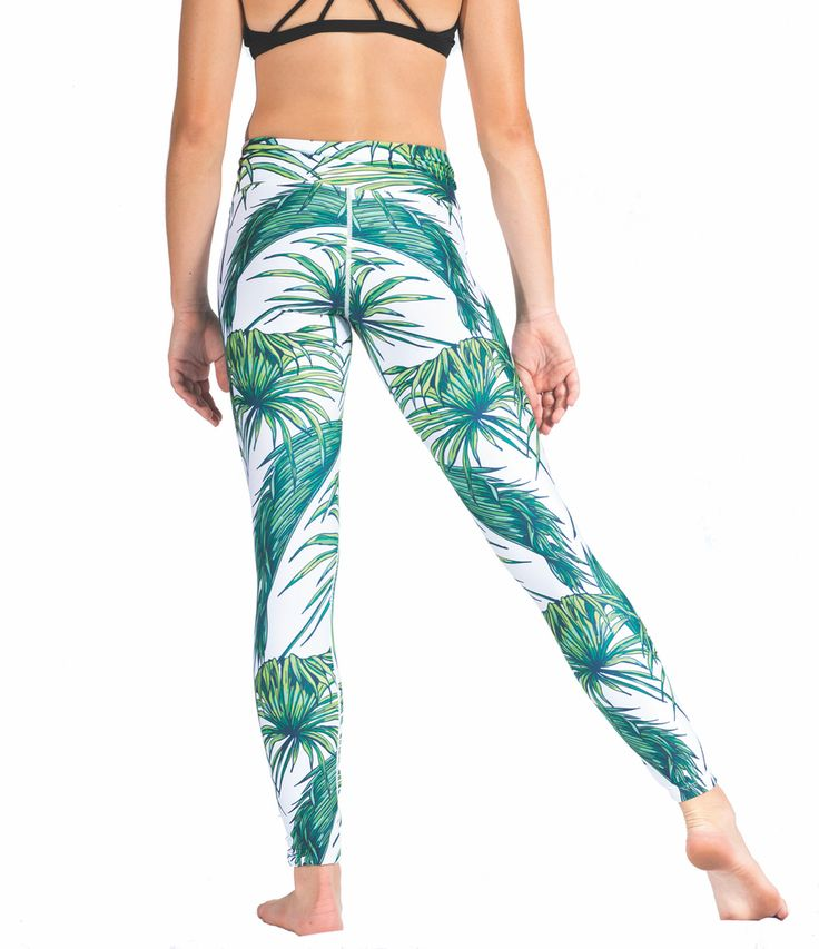 Loznpoz Tropicana White palm tree print yoga pants/leggings