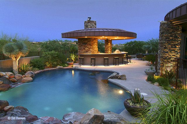 Backyard and landscaping.